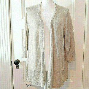 J. Jill Khaki Open Front Linen Knit Tunic Sweater